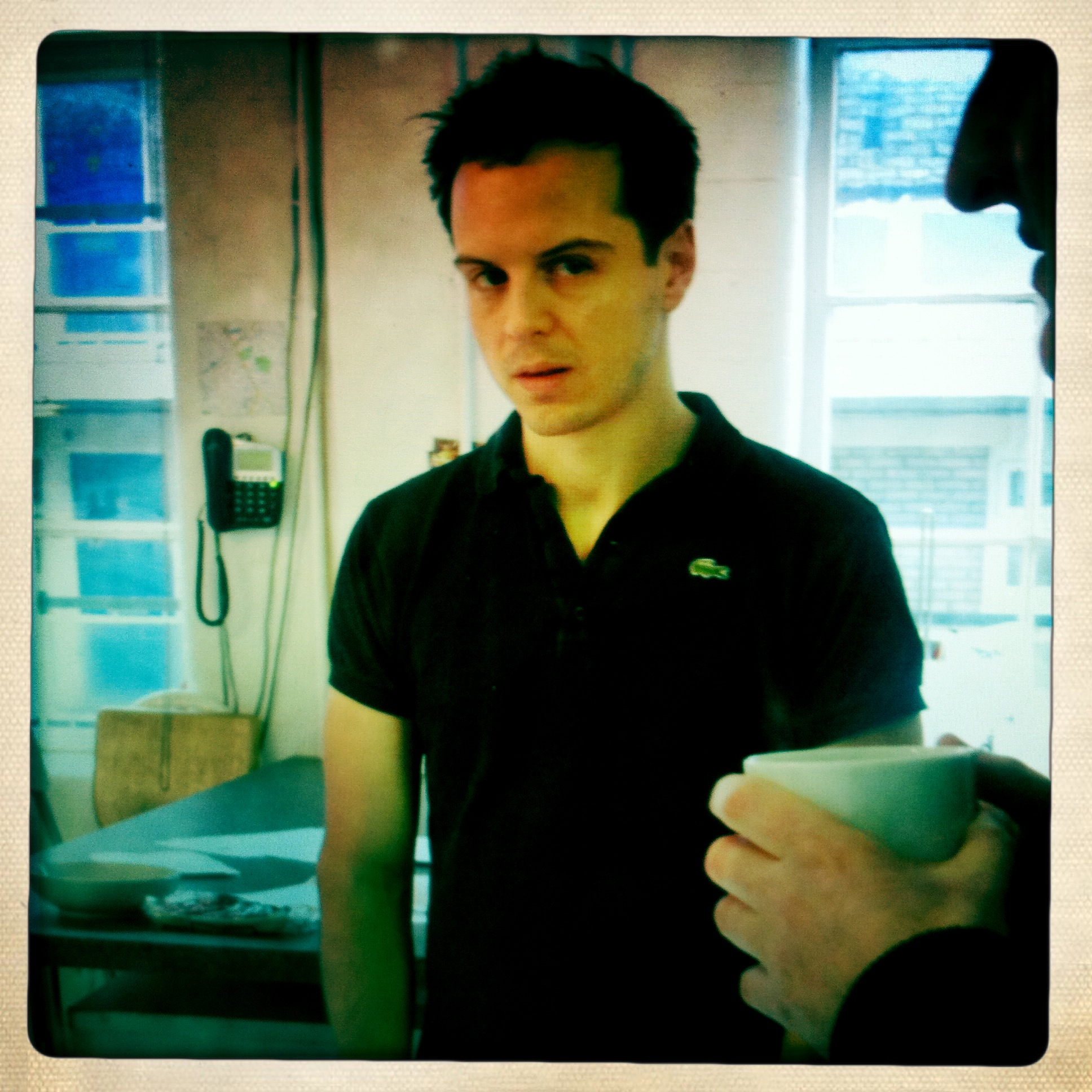 Andrew Scott (actor starring in BBC1's Sherlock as Moriarty) takes a break from Sea Wall filming
