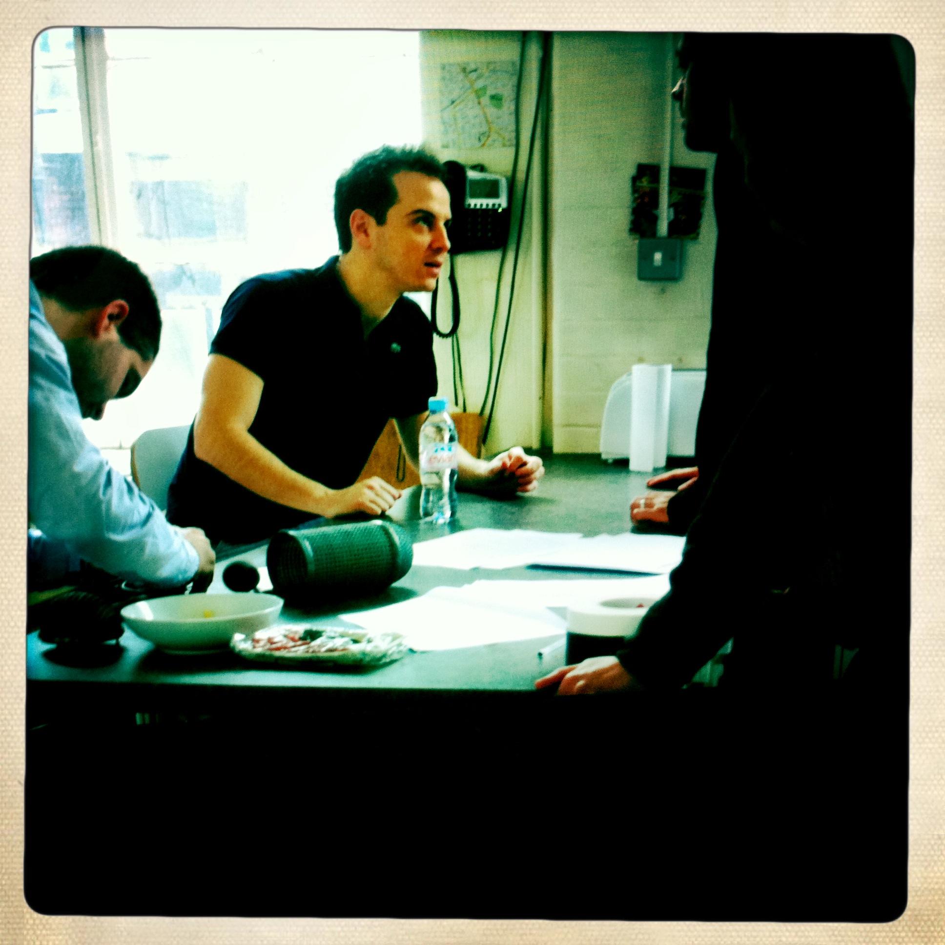 Moriarty Sherlock Actor Andrew Scott on the Sea Wall film set