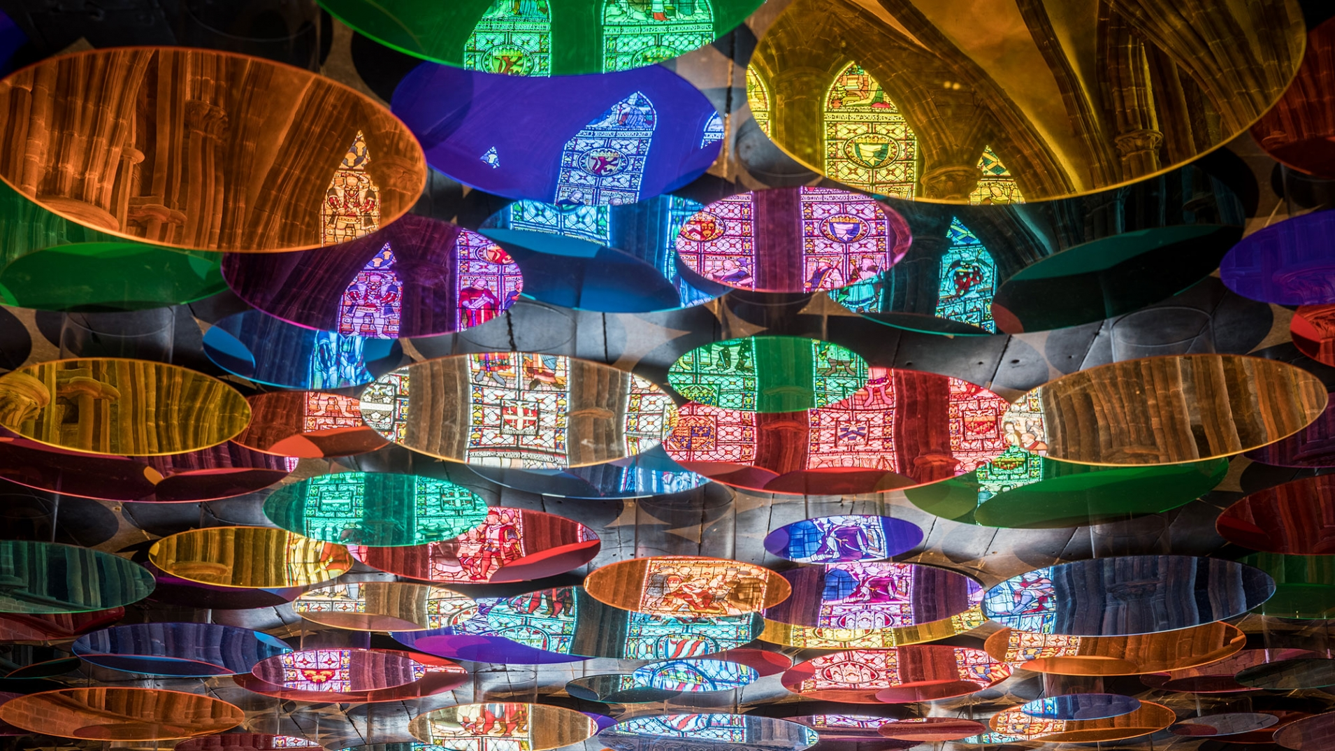 Liz-West-Art-Installation-Chester-Cathedral-close-up-coloured-discs