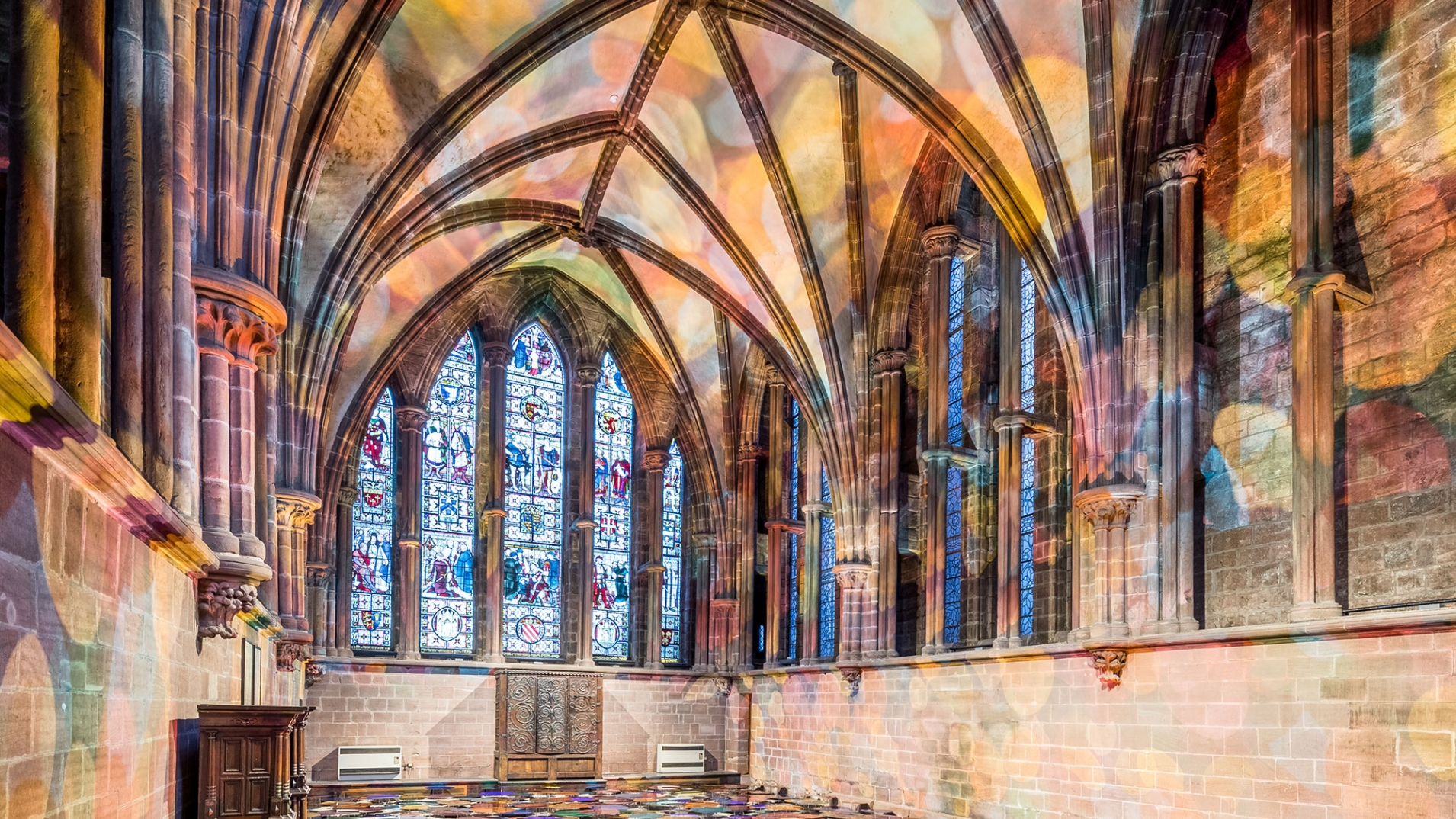 Liz-West-Art-Installation-Chester-Cathedral-close-up-coloured-light-on-walls