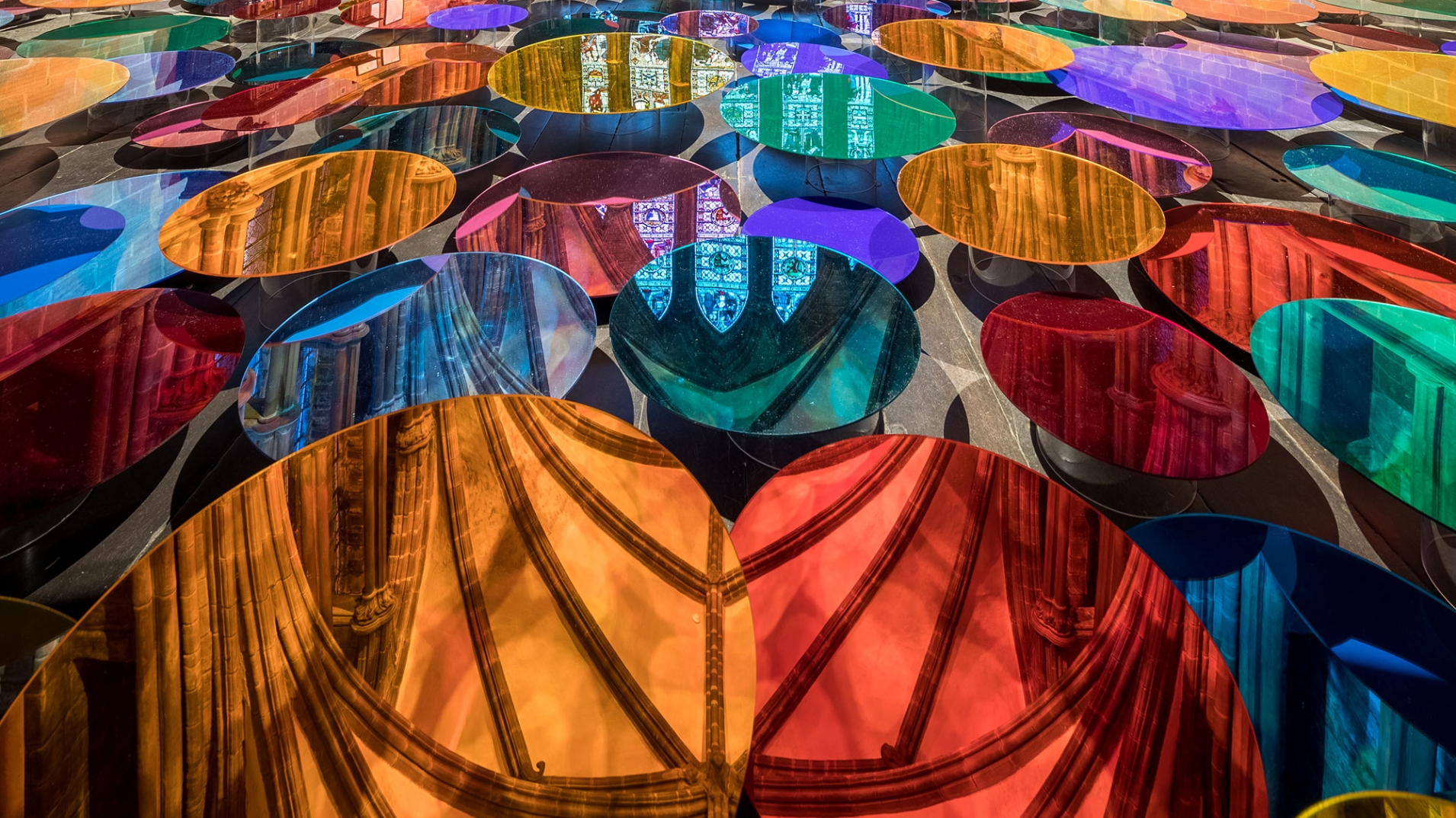 Liz-West-Art-Installation-Chester-Cathedral—coloured-discs-cropped